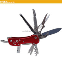 stainless steel folding pocket multi tool knife with led