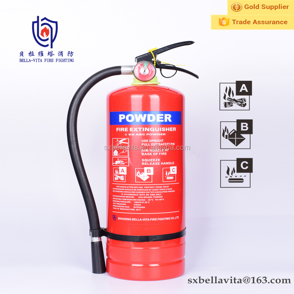 China extinguisher supplier 3kg abc dry chemical powder fire extinguisher extintor or cylinder