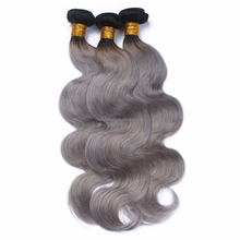 Hottest Brazilian Human Hair Weave Sale Two Color Tone Ombre Vigin Hair With Dark Roots #1B/Grey Body Wave Bundles