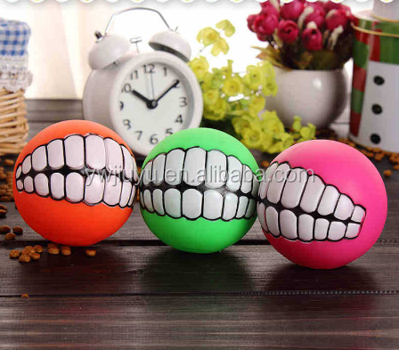 Pet Dog Puppy Ball Teeth PVC Chew Toys Sound Novelty Playing Funny Toys
