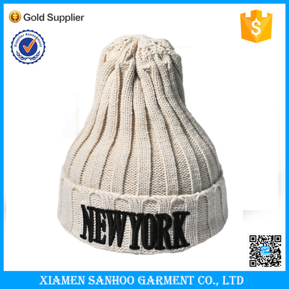 New Design Girls Men Skull Cap Warm Winter Knitted Caps With Embroidery Logo