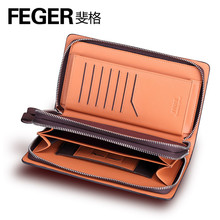 FEGER new arrival wholesale men clutch bag genuine leather men's clutch bag with zipper
