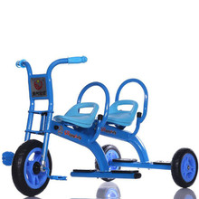 2017 cheap baby twins tricycle toy manufacture kids ride on double seats tricycle