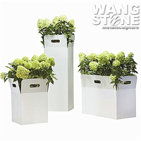 Stainless Steel Outdoor Large Metal White Rectangular Flower Planter
