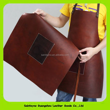 Alibaba Wholesale Real Cow Leather Brown Cooking Apron For Chef 16008