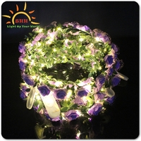 LED Decorative Light Up Artificial Wreath LED Decorative Light Up Flower String Light