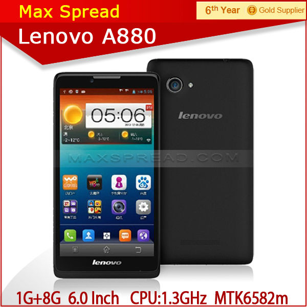 original mobile phone 6 inch screen mtk6582m android4.2 quad core lenovo a880
