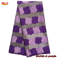 Hot Sale Purple French Lace Curtains With Beads N1042