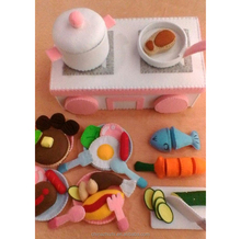china new innovative product felt food craft kit for toys babies OEM girls pretend toy kitchen custom felt play kitchen for kids