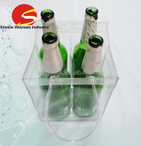 High Qulity Nice Recyclable Clear PVC Wine Bottle Bag Ice Bag with Pocket for Packing Wine