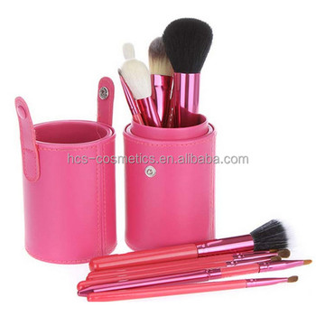 12pcs professional eye barreled make up brushes set pu cylinder case animal hair makeup brushes custom logo