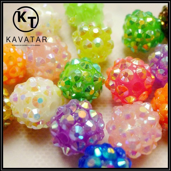 Resin rhinestones pave ball beads for shamballa