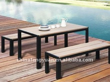 Aluminum material plastic wood outdoor dining set, modern table and bench