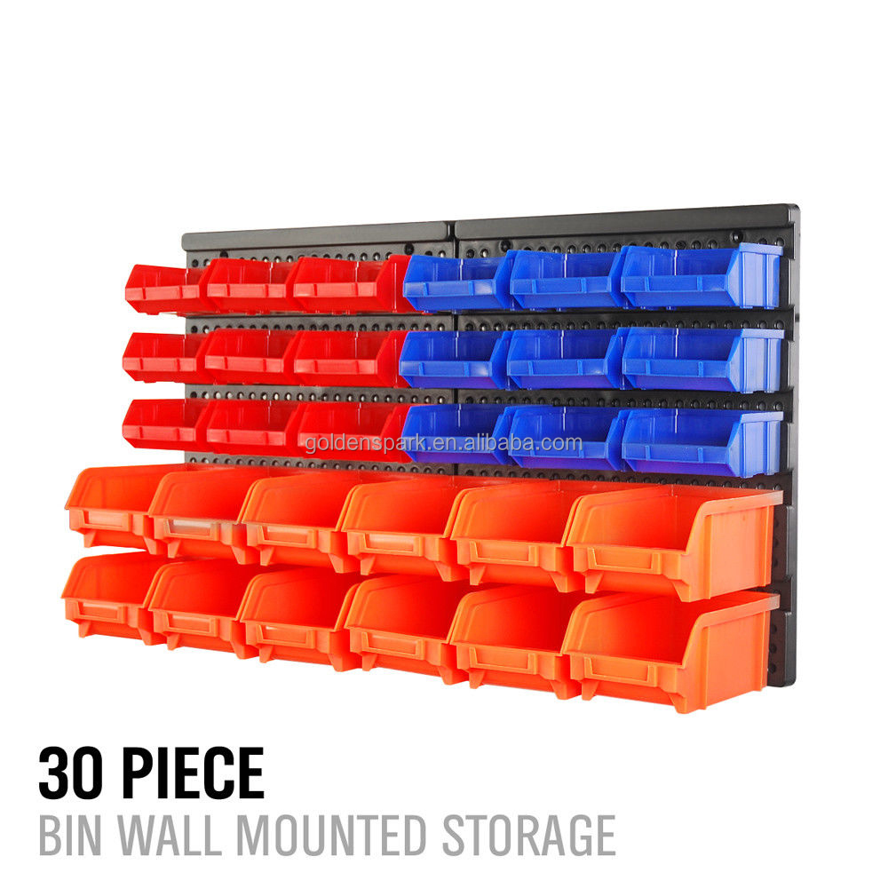 30pc Wall Mounted Storage Garage Tools Small Parts Plastic Bins Organizer Rack
