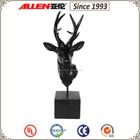 "18"" black resin deer head statue for home tabletop decoration"