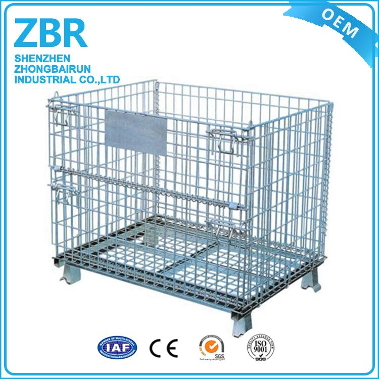 Convenient wire iron storage mesh warehouse container folding steel cage