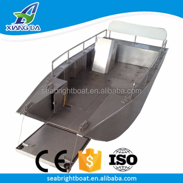 High Quality China Factory Flat Bottom Welded Landing Craft 20ft Aluminum Fishing Boat with Engine