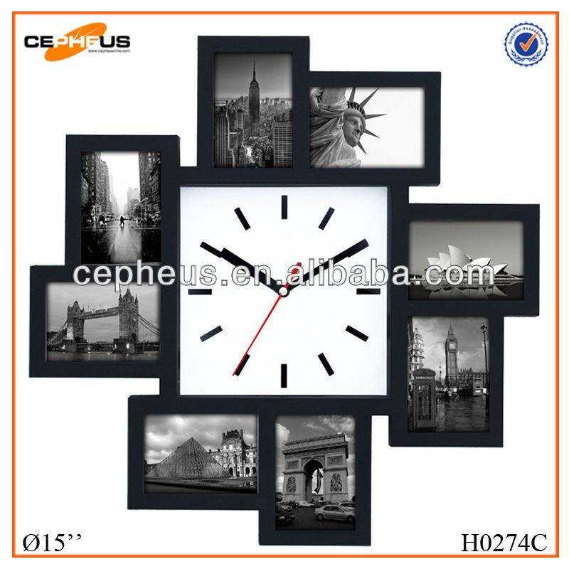 8 en plastique diy horloge murale avec cadre photo. Black Bedroom Furniture Sets. Home Design Ideas