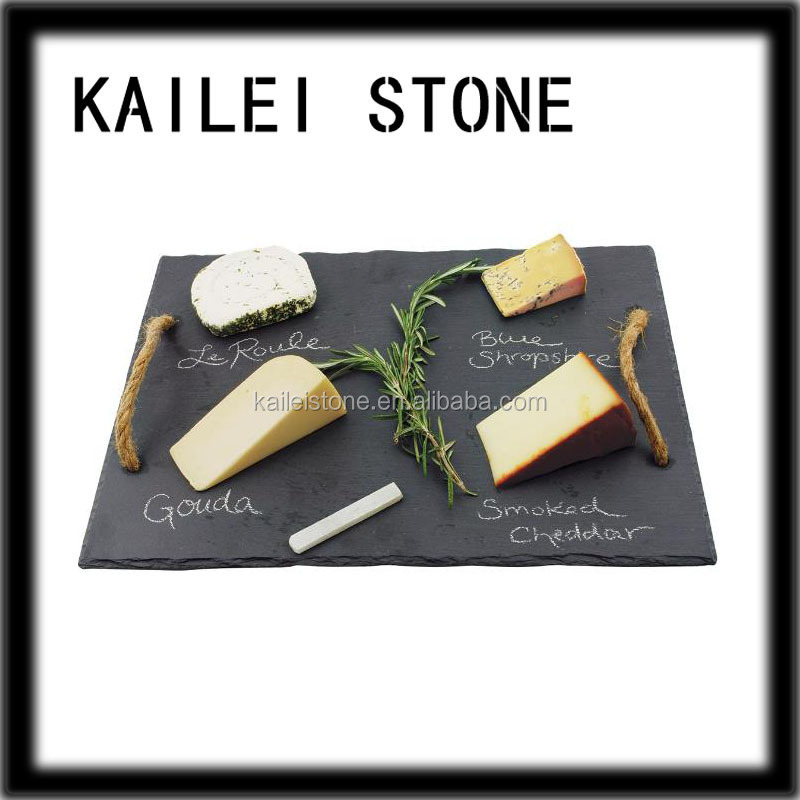 Cut-to-size black color slate tapas tray or writing slate board, slate cheese board