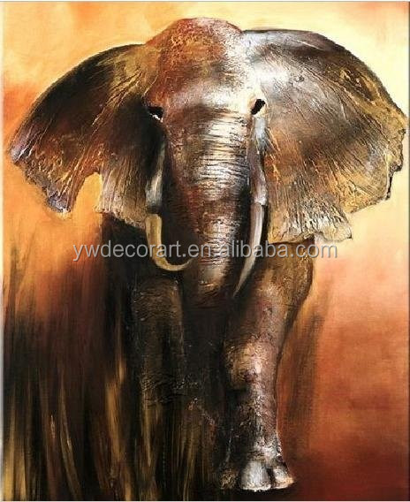 High Quality oil paintings of elephants pure hand-painted wall decor modern abstract paintings, African animal theme Hot Picture