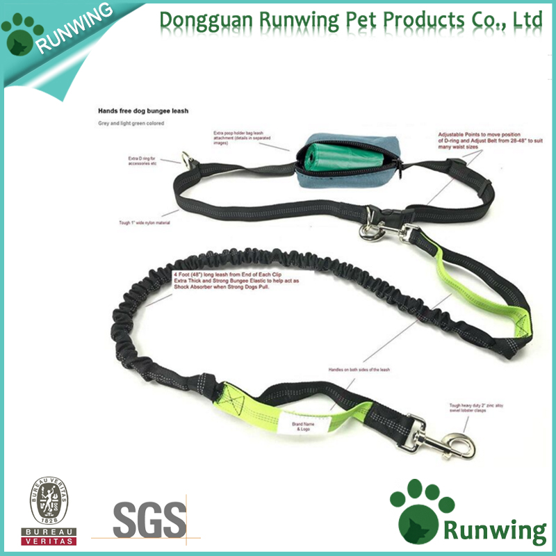 Premium Hands-free Running Dog Leash with Ergonomic Waist Belt, Dual Handle