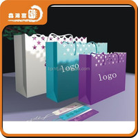 Customised famous brand ribbon tie paper bags for gift
