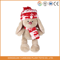 2016 new stuffed rabbit plush toys with christmas hat