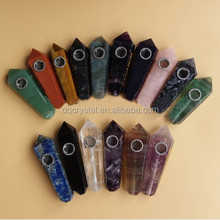 Wholesale high quality Natural all kinds stone smoking pipes healing crystal quartz smoking pipe