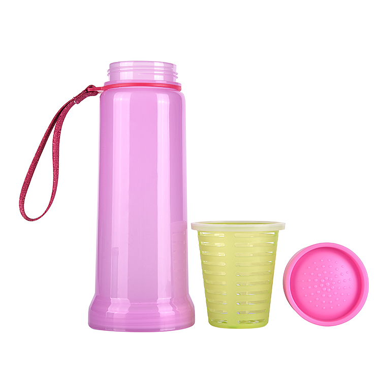 Blue Pink Give Away Promotion Gift,Collapsible Infusion Water Bottle With Lanyard,Dual Fruit Drinking Bottle,700ml