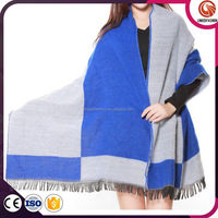 European style large size knitted scarf soft cashmere scarf blue in stock