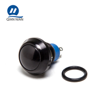 12mm NO NC reset black aluminum 4pin domed head push button switch
