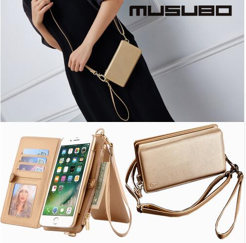 Luxury PU Leather stand girl purse cell phone case handbag wallet Mobile case cover with straps For iPhone X 7 8Plus coque capa