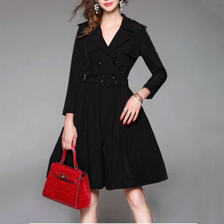 Wholesale Office Ladies Black Long Sleeve Latest Formal Dress Patterns