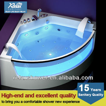 2016 most popular modern acrylic whirlpool massage bathtub with glass