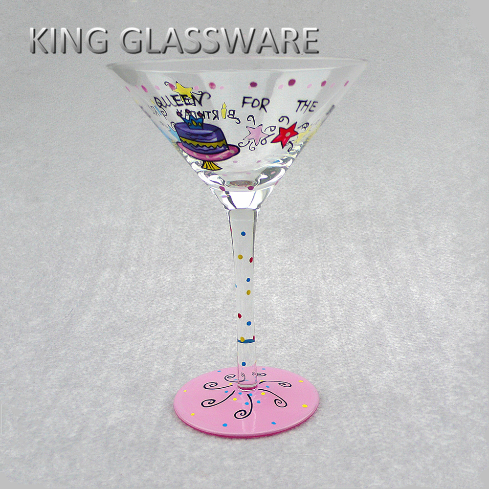 Birthday valentines gift hand painted drinking martini cups glass glasses wholeslae