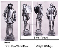 metal medieval armor warriors statues,tin alloy armor helmet statue