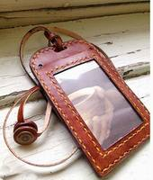 Leather Neck Chain ID Card Holder/ Badge Wallet Cases/ ID Holder