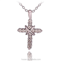 Fashion accessories fashion wild small jewelry 18K white gold cross necklace Wholesale Creative