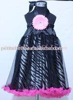 Black Zebra Print Hot Pink Chiffon Pettidress,One Piece Dress MAP80