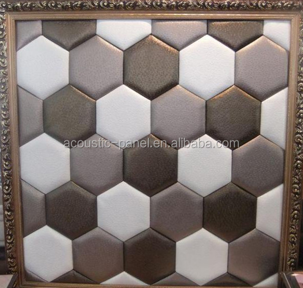 Leather Hexagon Soundproof Foam Acoustic Wall Panel Yz 008