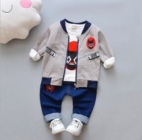 2018 new arrivals 1-4 years spring autumn cotton baby kid jacket t-shirt and jean pant 3 in 1 set