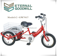 "12"" three wheel passenger tricycles/ tricycle seat with backrest/ kids bike with 3 wheels/GW7017"