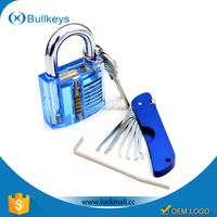 Bullkeys transparent training padlock + 1 blue folding lock pick tools with plastic box packing for professional locksmith tools