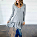 Ruffle hem long sleeve button front long tops for women