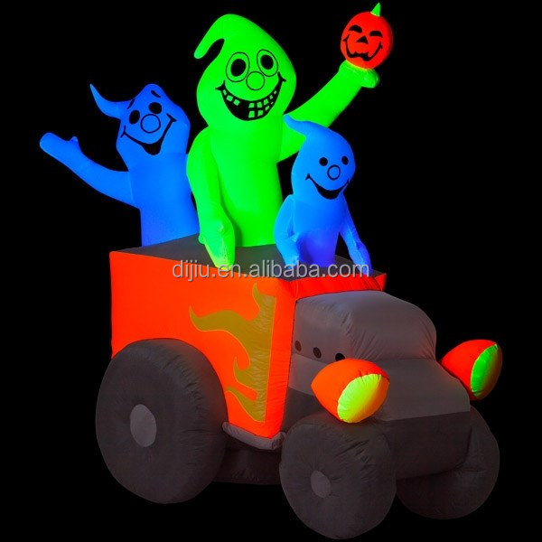 Hot cool airblown halloween glitter eye devil holding pumpkin driving trunk light inflatable fluorescent ghost shadow light