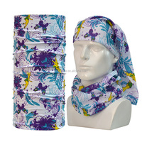 Custom multifunctional seamless tube bandana cycling mutifuctional bandana head wrap with full print flower