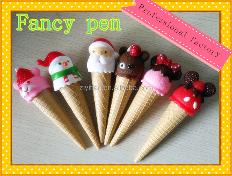 Ice cream cone shaped ball pen for christmas gift ,cartoon fancy pen