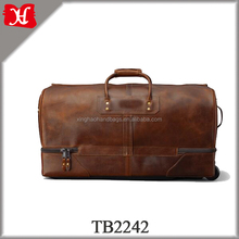 Colombian Leather Packable Rolling base travel bag