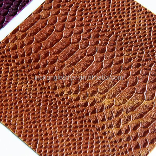 brown snake skin pu faux leather with competitive price for bags