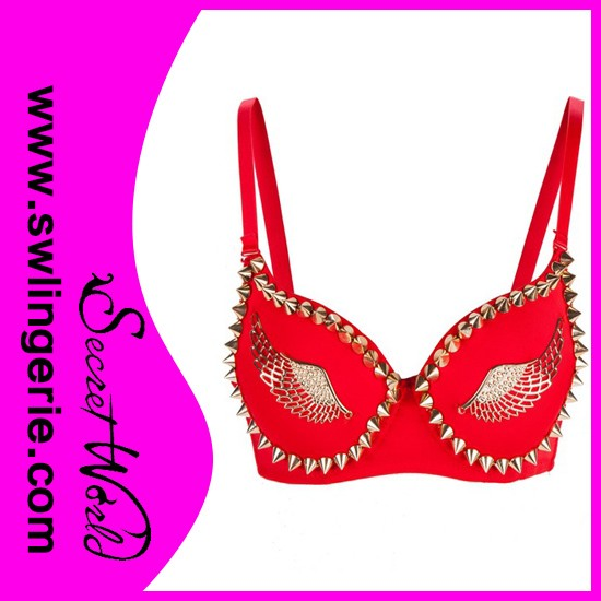 Red hot shiny ladies Rivet Spiked bra new design of bra pictures